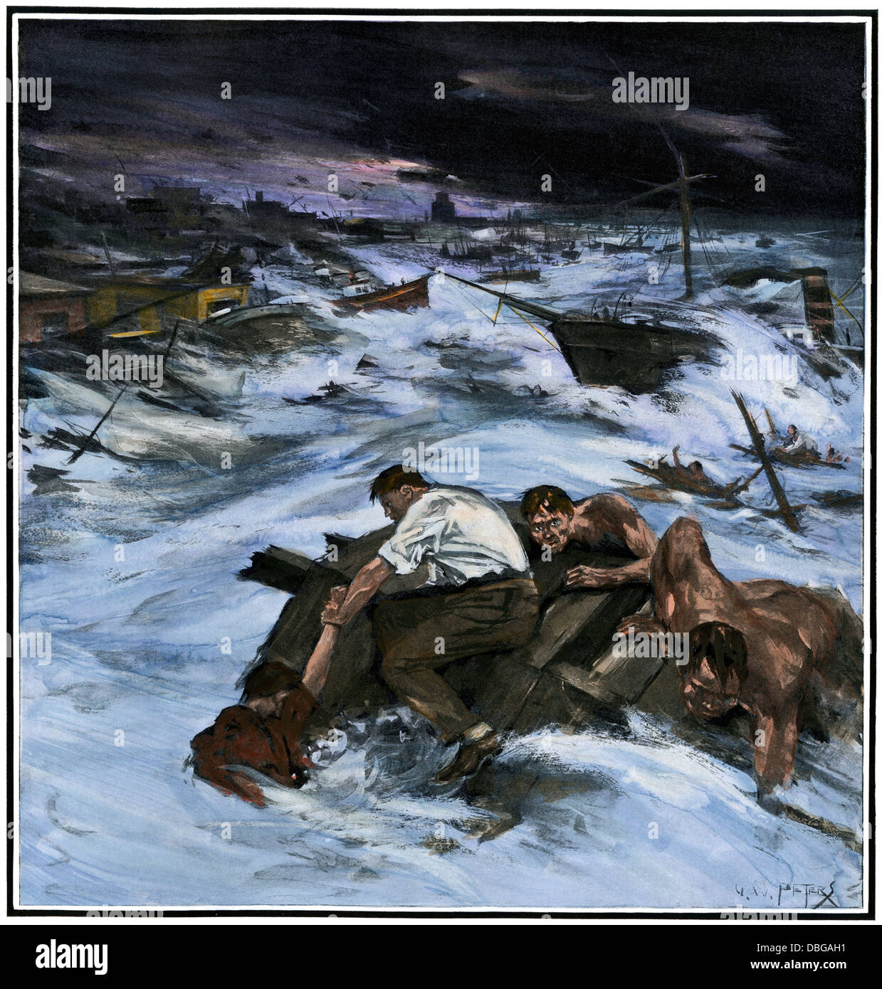 Victims of the Galveston hurricane clinging to wreckage, 1900. Hand-colored halftone reproduction of an illustration - Stock Image