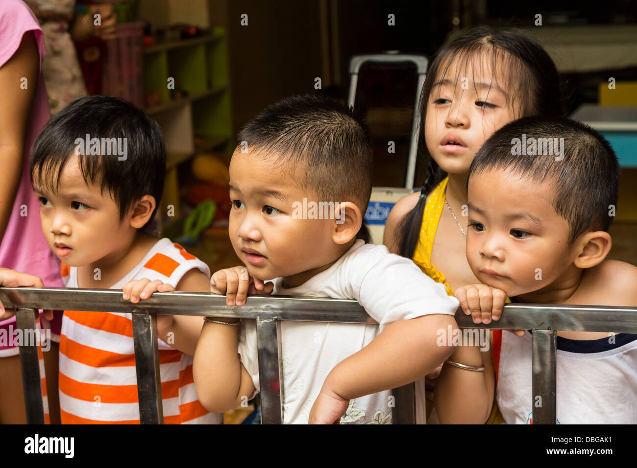 Young children at a daycare center in Saigon, Ho Chi Minh City, Vietnam, Asia. Stock Photo