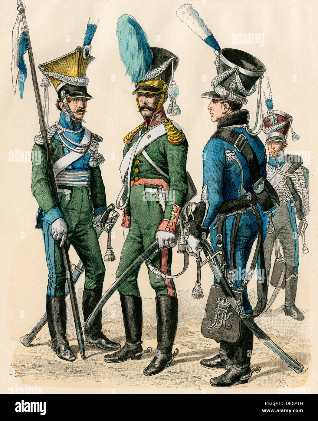 Bavarian military uniforms, early 1800s: lancer, cavalryman, and hussar (left-right). Hand-colored print - Stock Image