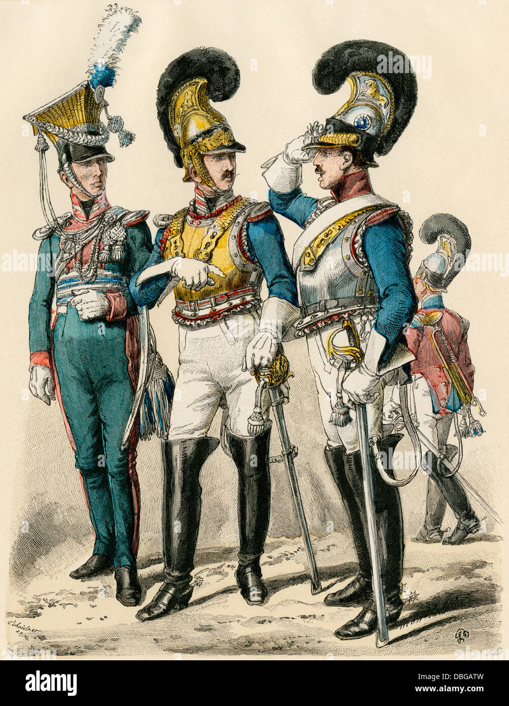 Bavarian military officers, early 1800s: lancer, bodyguard, and corps officer (left-right). Hand-colored print - Stock Image