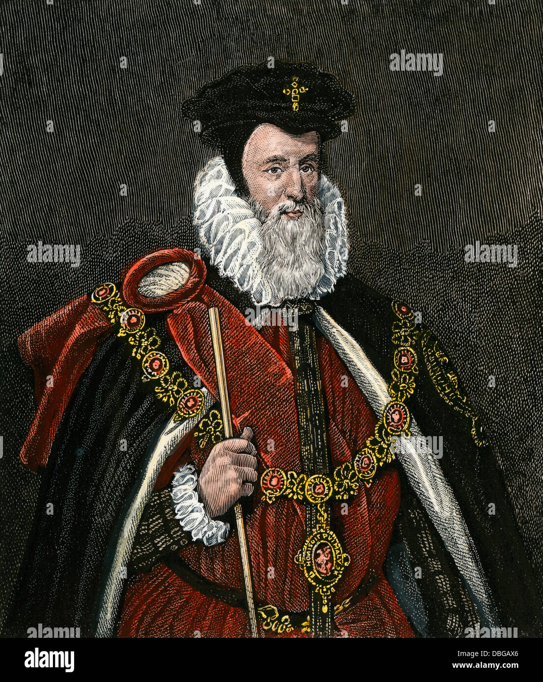 William Cecil, Secretary of State under Elizabeth I. Hand-colored engraving - Stock Image