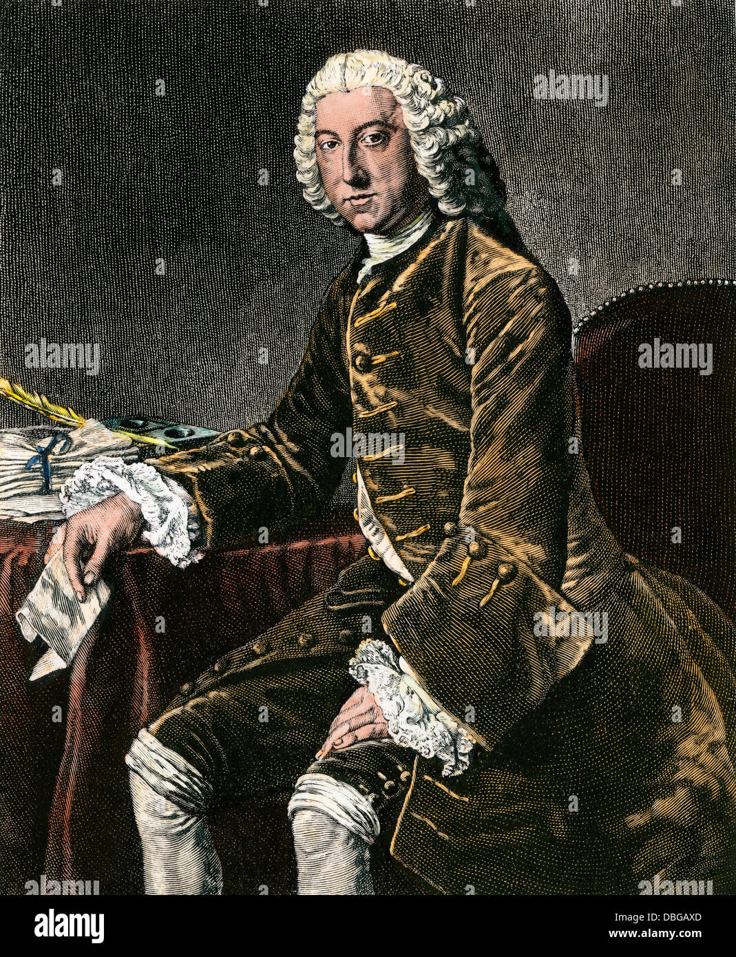 William Pitt, Earl of Chatham. Hand-colored engraving - Stock Image