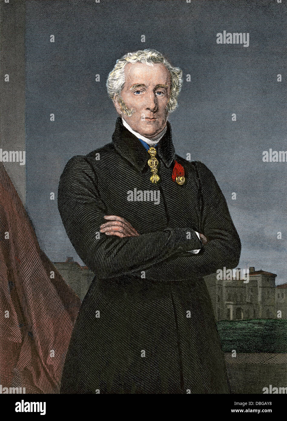 Arthur Wellesley, Duke of Wellington, who defeated Napoleon at Waterloo. Hand-colored steel engraving - Stock Image