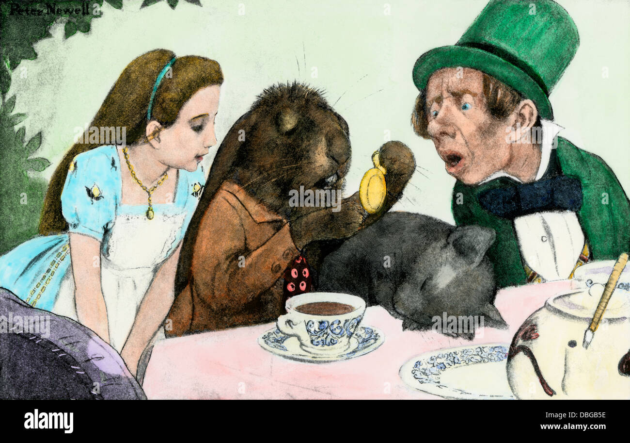 The Mad Hatter's tea-party, from Alice in Wonderland. Hand-colored halftone reproduction of an illustration - Stock Image