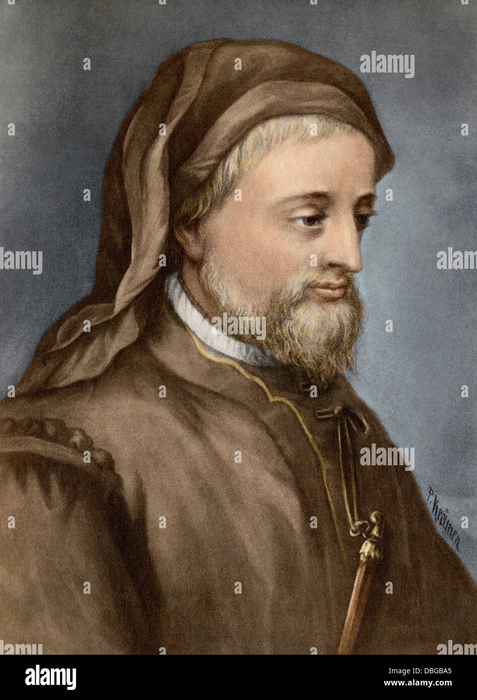 Geoffrey Chaucer. Hand-colored photogravure of a painting - Stock Image