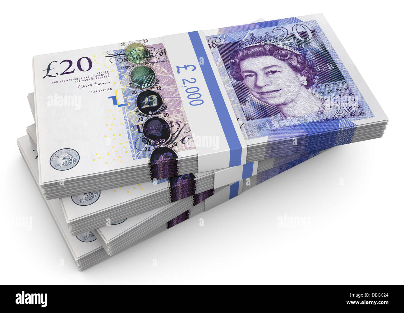 Stack of £20 pound notes on white background - Stock Image