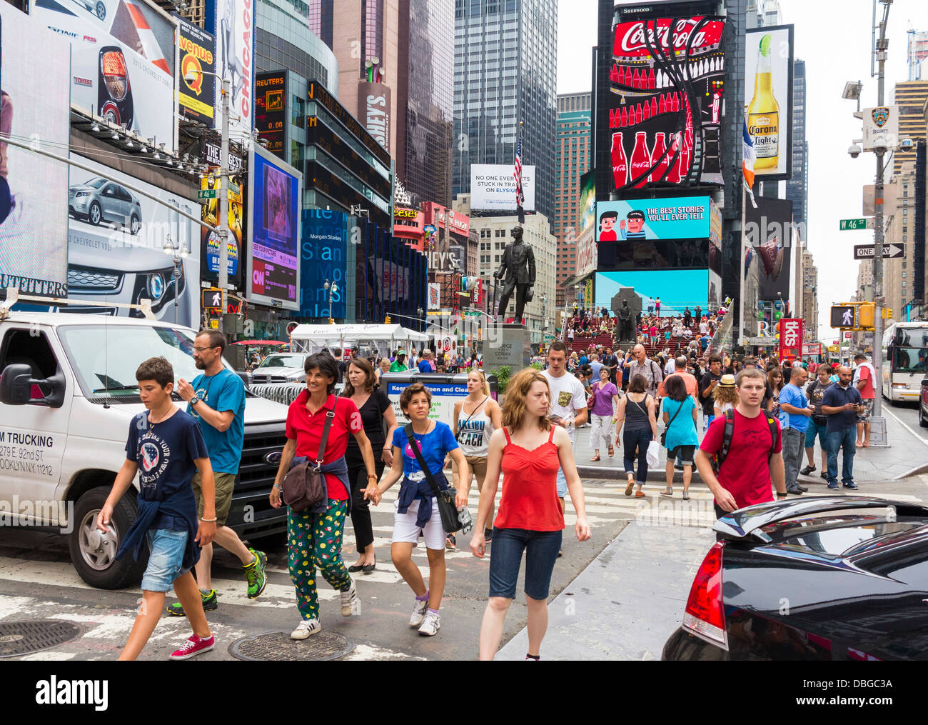 Busy Times Square in Manhattan, New York City street with crowds of people / tourists in summer - Stock Image