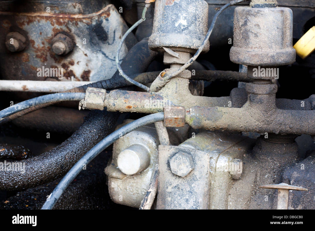 Old agriculture machinery outdated technology concept - Stock Image