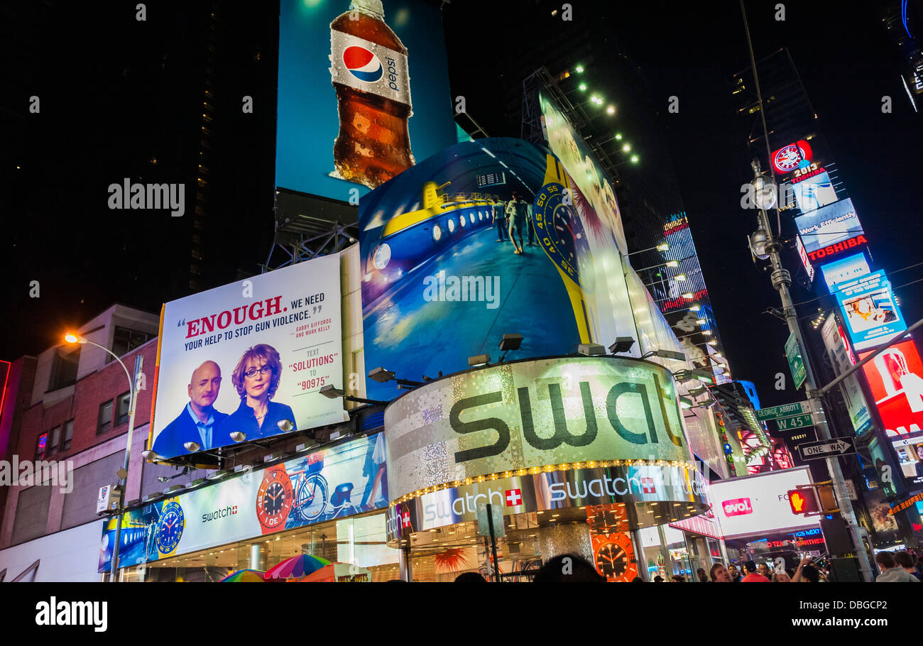 Advertising Times Square, New York City at night - Stock Image