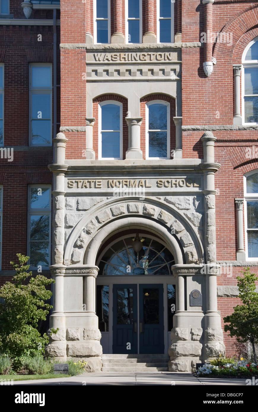 Front entrance of Barge Hall, Central Washington University, CWU, originally the Washington State Normal School, - Stock Image