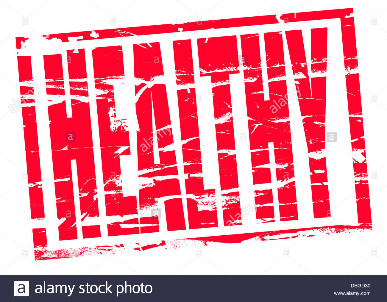 Digital composite Red Rubber stamp effect - healthy - Stock Image