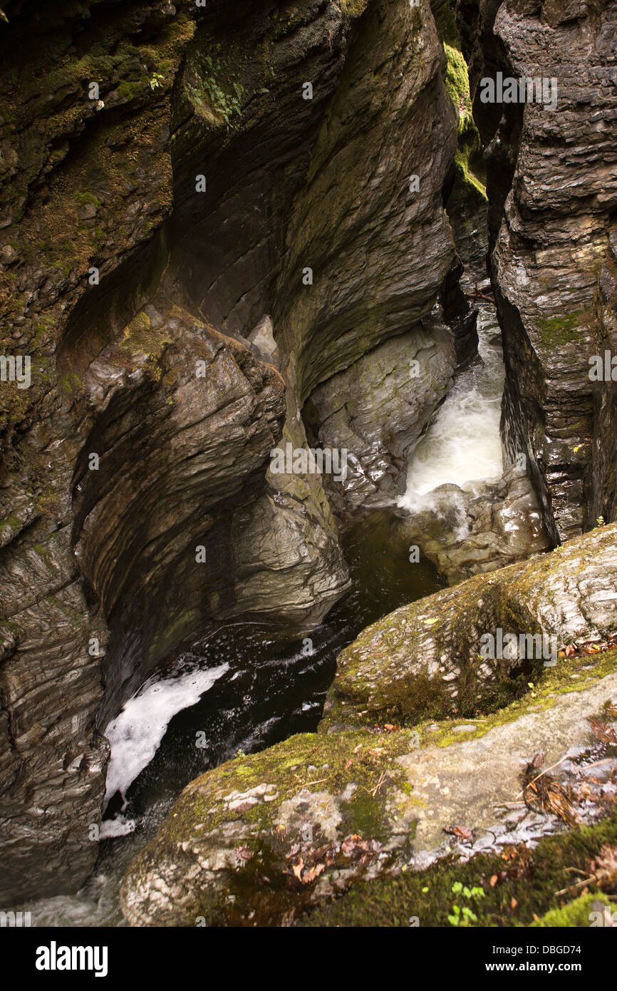 UK, Wales, Ceredigion, Devil's Bridge, the Devil's punchbowl, cauldron of water-sculpted rocks - Stock Image