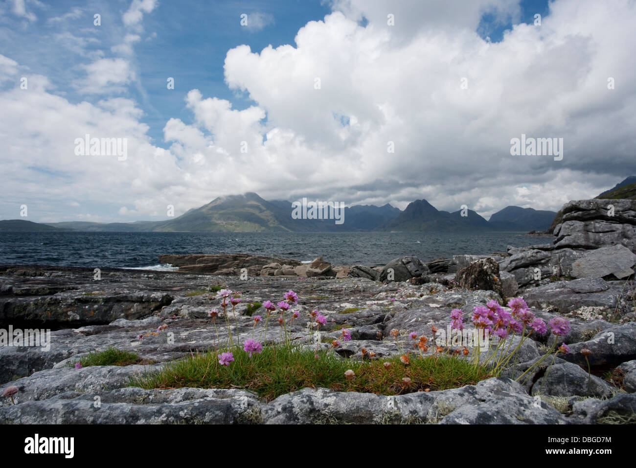 Cullins from Elgol Beach Isle of Skye, Inner Hebrides Scotland, UK LA006255 - Stock Image