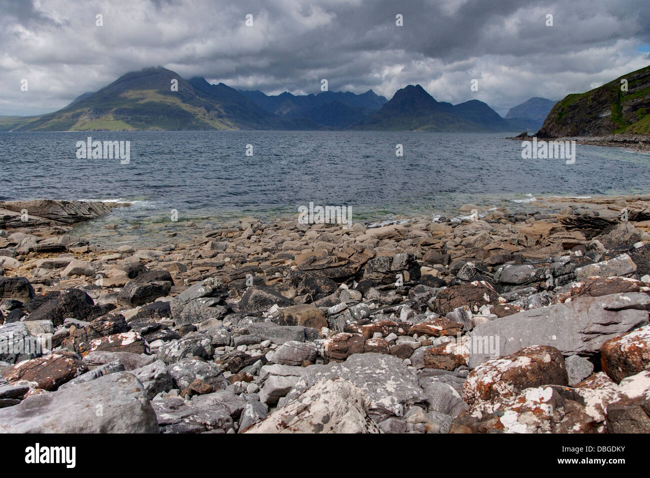 Cullins from Elgol Beach Isle of Skye, Inner Hebrides Scotland, UK LA006265 - Stock Image