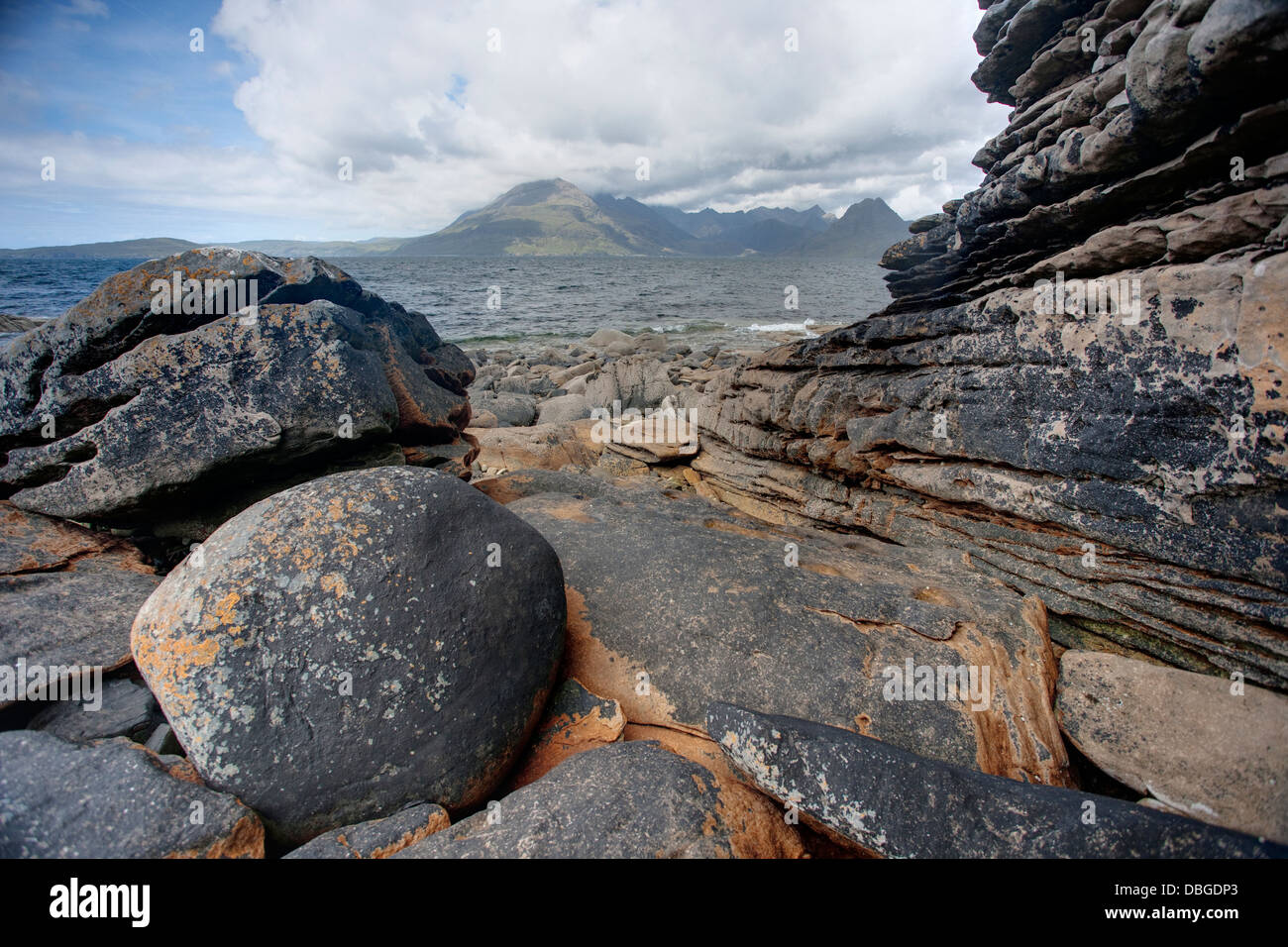 Cullins from Elgol Beach Isle of Skye, Inner Hebrides Scotland, UK LA006269 - Stock Image