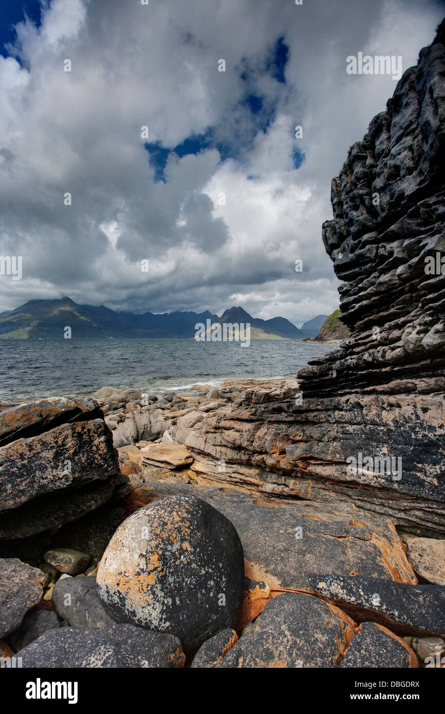 Cullins from Elgol Beach Isle of Skye, Inner Hebrides Scotland, UK LA006281 - Stock Image