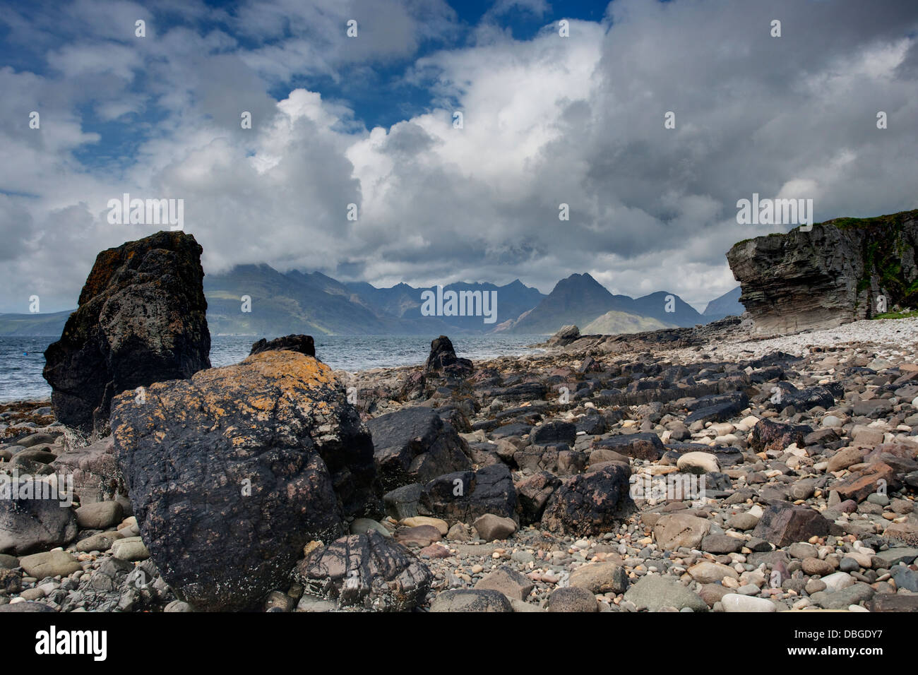 Cullins from Elgol Beach Isle of Skye, Inner Hebrides Scotland, UK LA006289 - Stock Image