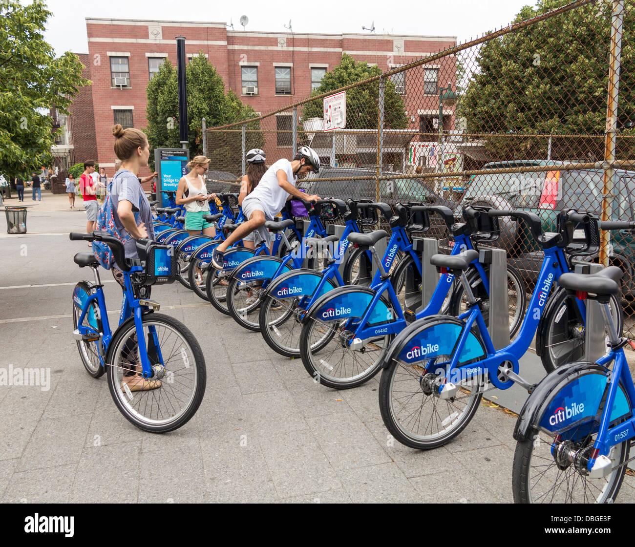 Citi Bikes in New York City - Stock Image