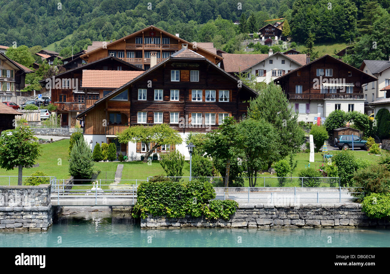 Lake Brienz is a lake in the Canon Berne in Switzerland, here with Brienz village Stock Photo