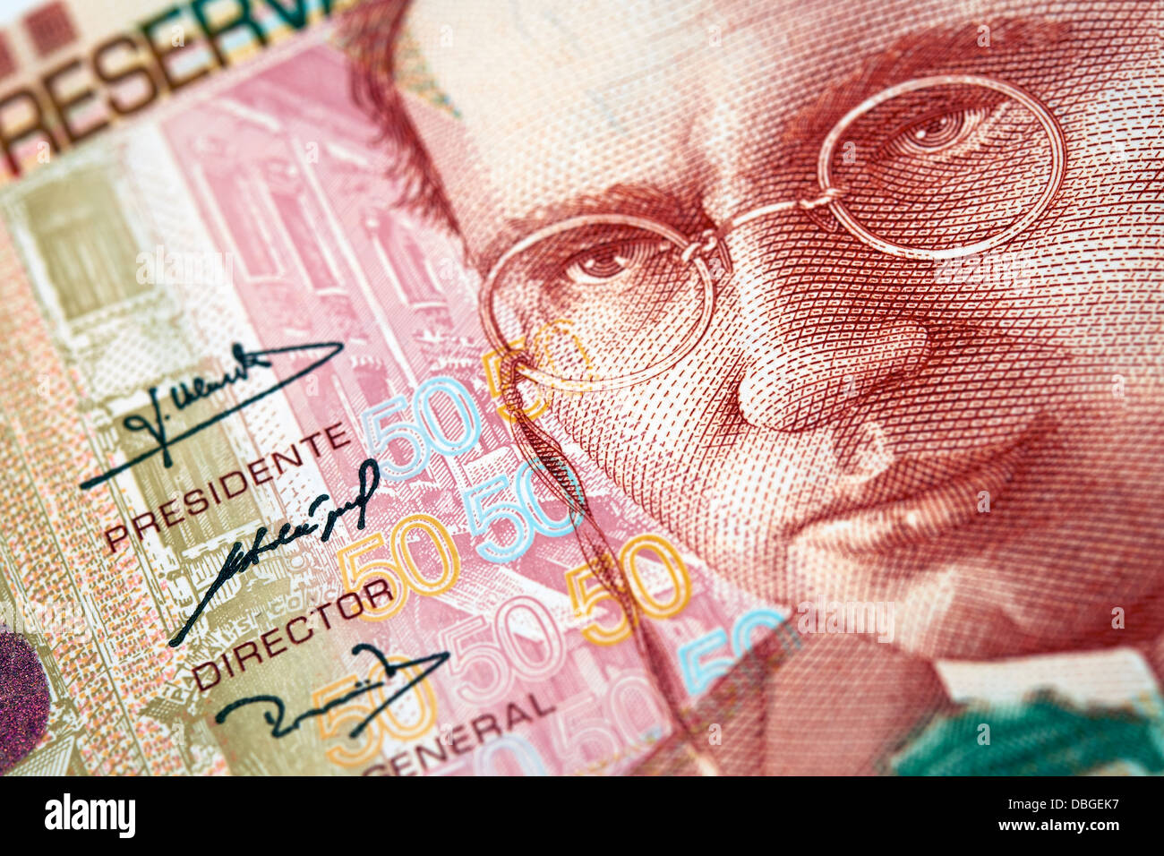 Peruvian paper notes, Nuevos Soles currency from Peru. - Stock Image