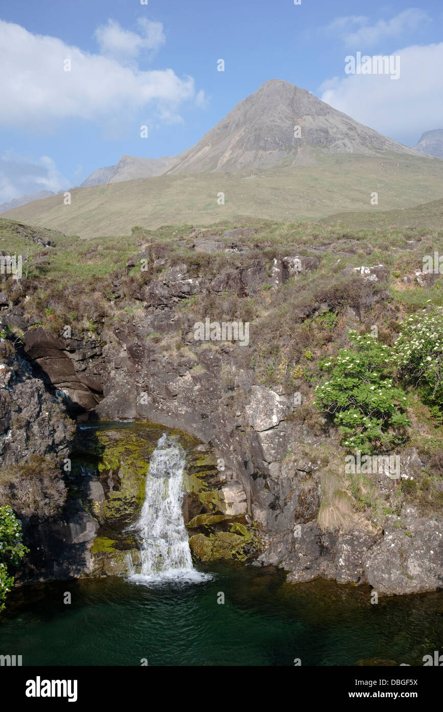 Waterfall with Cullins in background Isle of Skye, Inner Hebrides Scotland, UK LA006354 - Stock Image