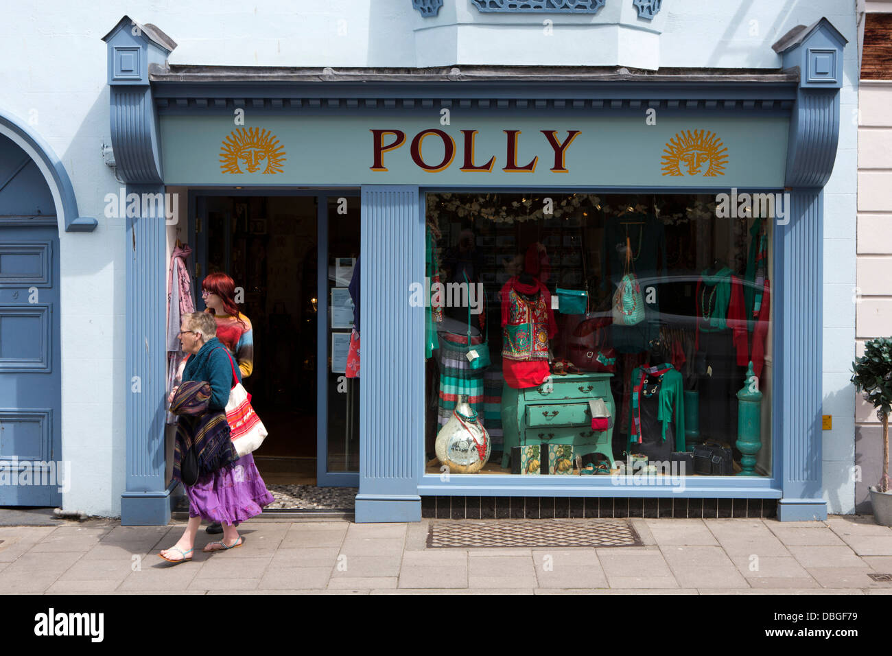 UK, Wales, Ceredigion, Aberystwyth, Town Centre, Chalybeate Street, Polly clothes shop - Stock Image