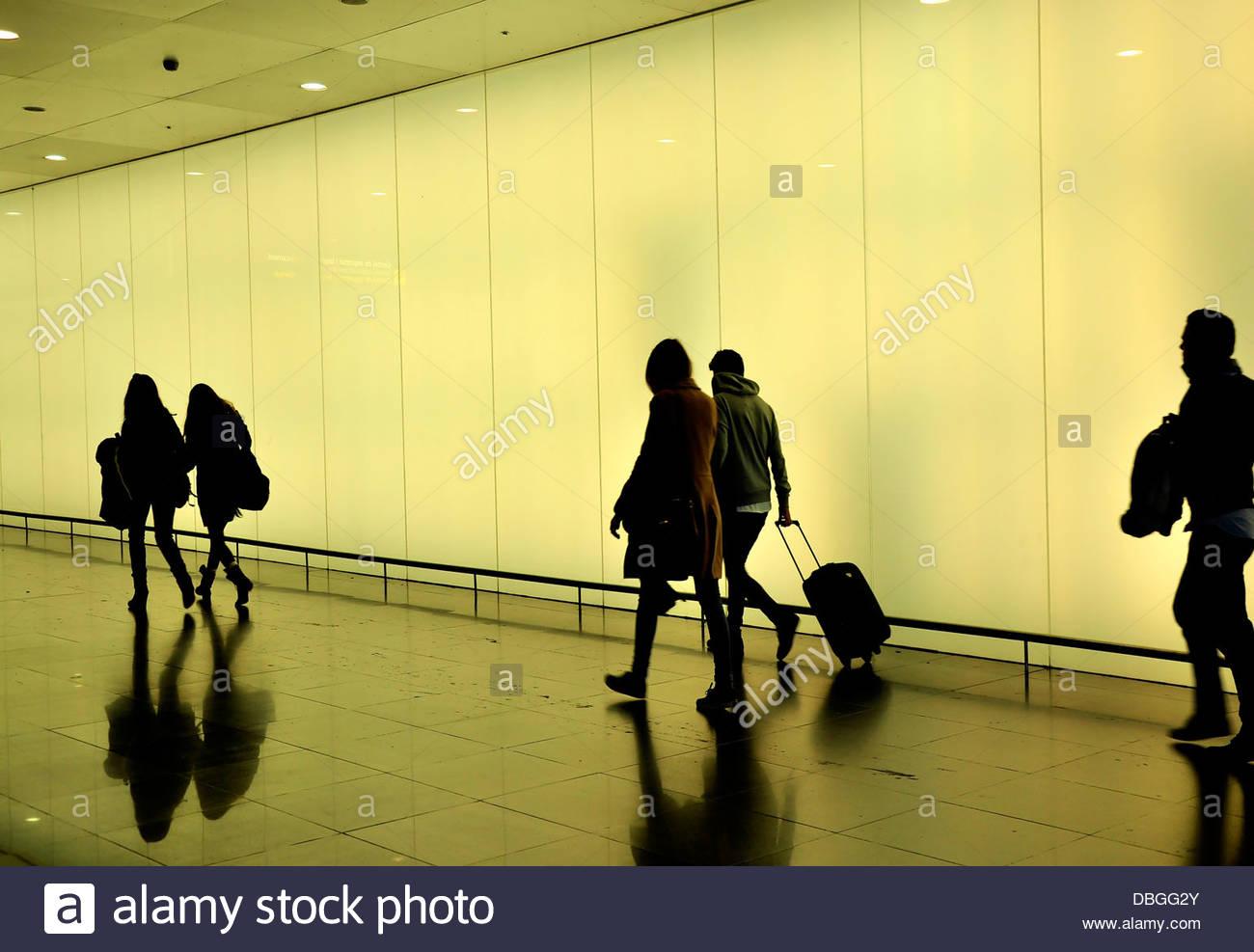 Passenger, airport Barcelona, Terminal 2, Barcelona, Catalonia, Spain - Stock Image