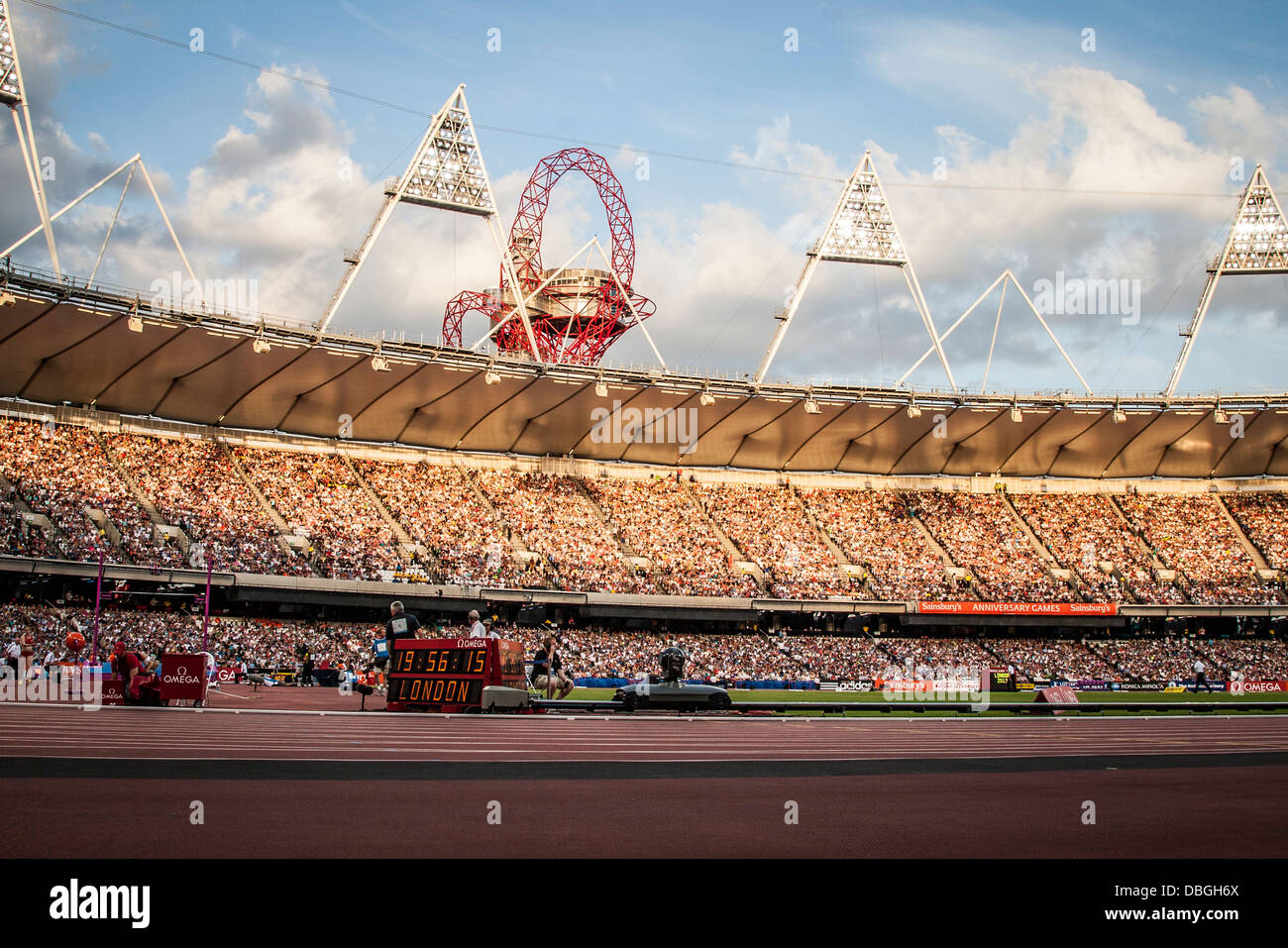 Mittal Orbit in background, Olympic Stadium, sunset over Olympic Stadium, London, Anniversary Games, Diamond League, - Stock Image