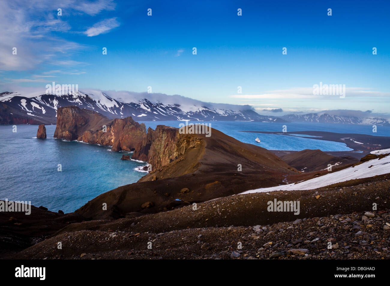 The natural harbour and live volcano of Deception Island, Antarctica - Stock Image