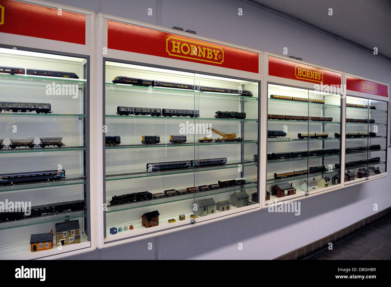 Hornby Model Trains In A Display Case National Railway