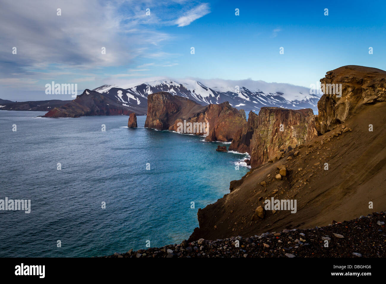 The entrance to the natural harbour and live volcano of Deception Island, Antarctica - Stock Image