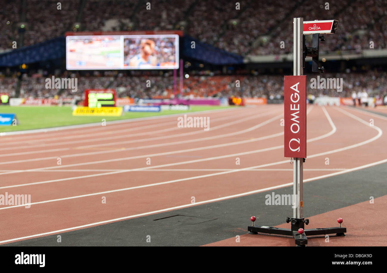 Omega sponsors Diamond League Games, Anniversary Games, Olympic Stadium, 60,000 people in attendance, - Stock Image