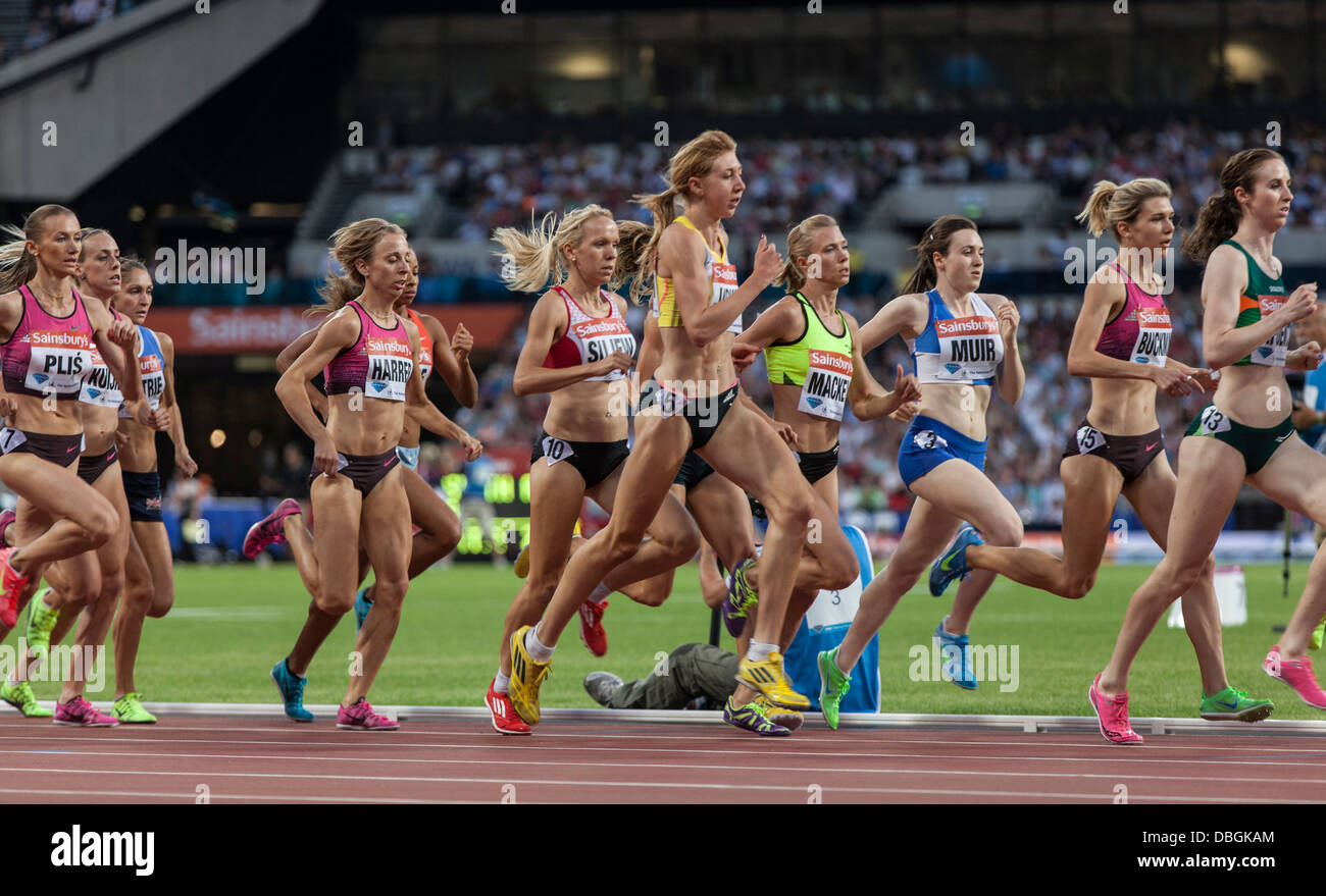 1500m race at the Anniversary Games, Olympic Stadium, London, Diamond League, IAAF, - Stock Image