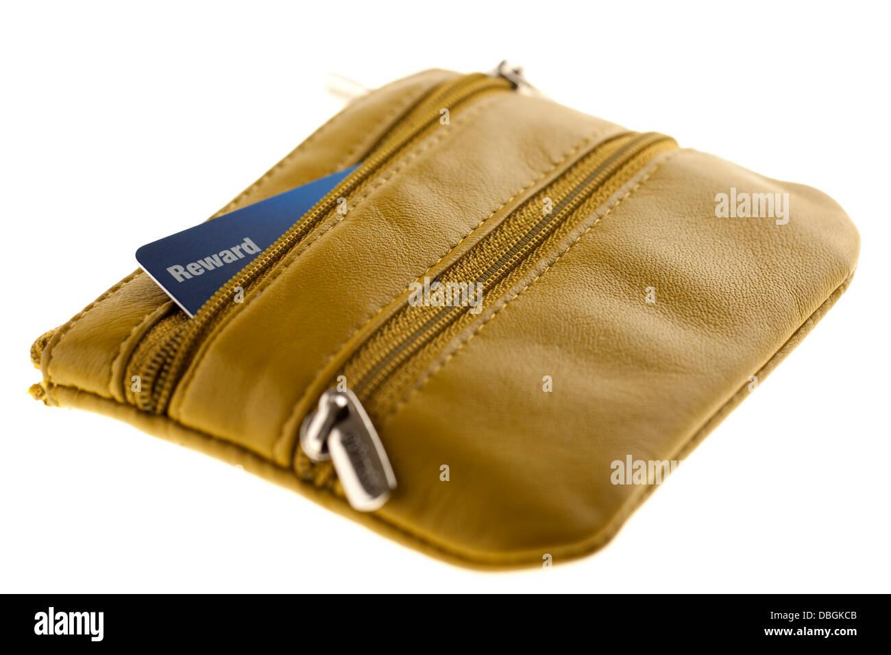 Reward card in a yellow zipped purse - Stock Image