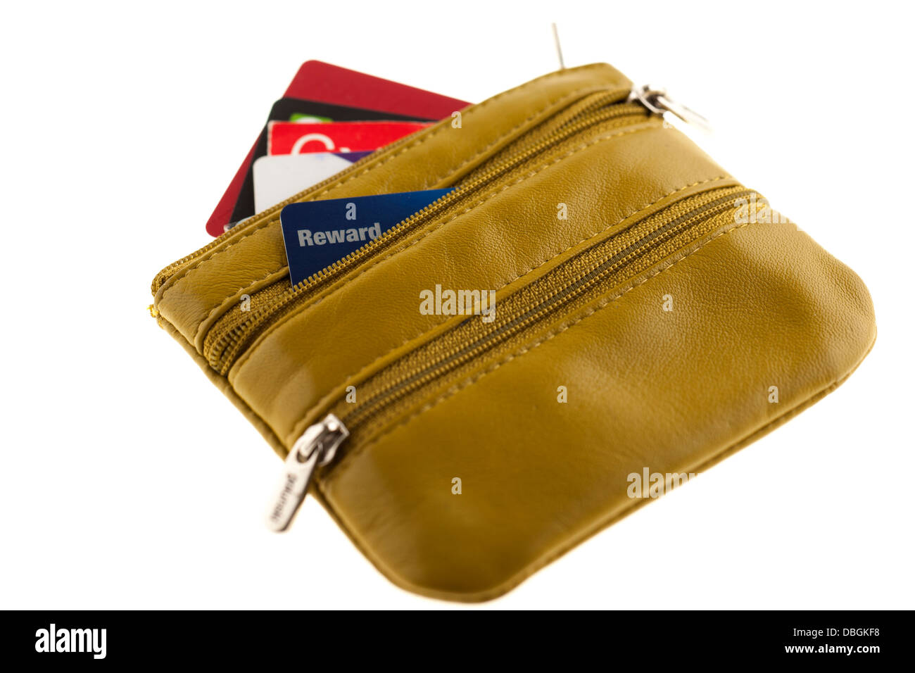 Yellow ladies three zipped purse with credit cards showing - Stock Image