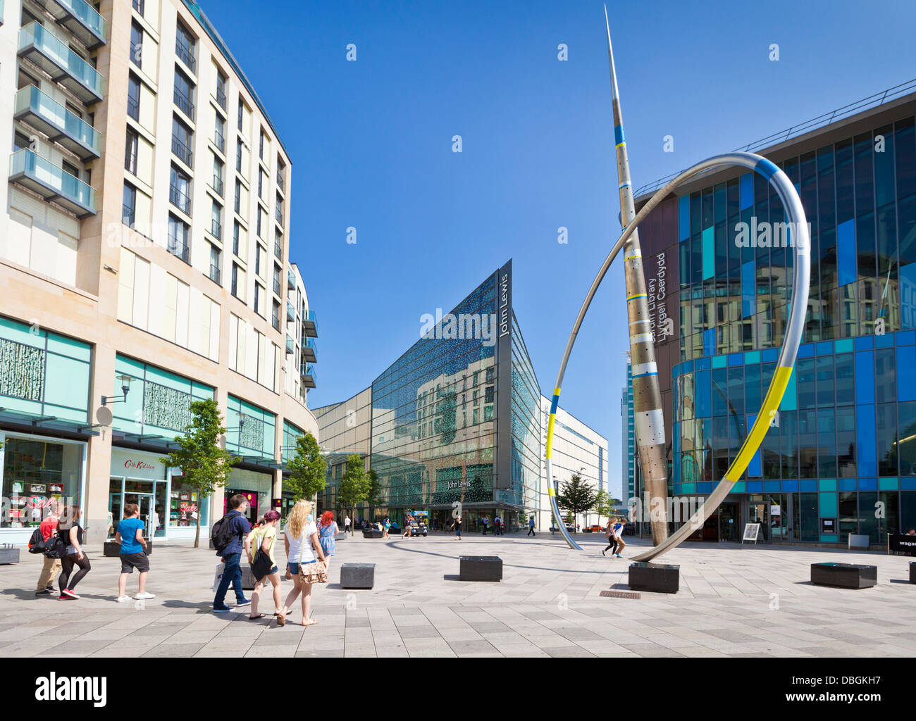 Cardiff city centre, The Hayes Pedestrian area in front of the John Lewis Store, South Glamorgan South Wales UK - Stock Image