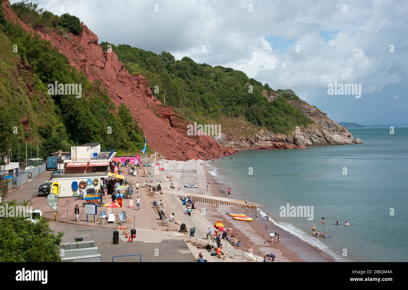 Beach closed at Babbacombe Devon England UK after cliff ...