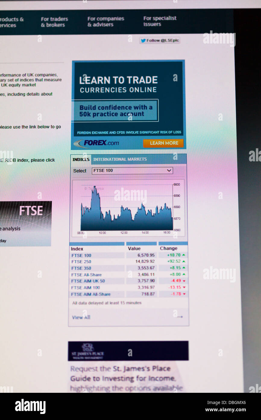 Photo Illustration of the FTSE 100 forecast from the UK website for stocks and shares - Stock Image