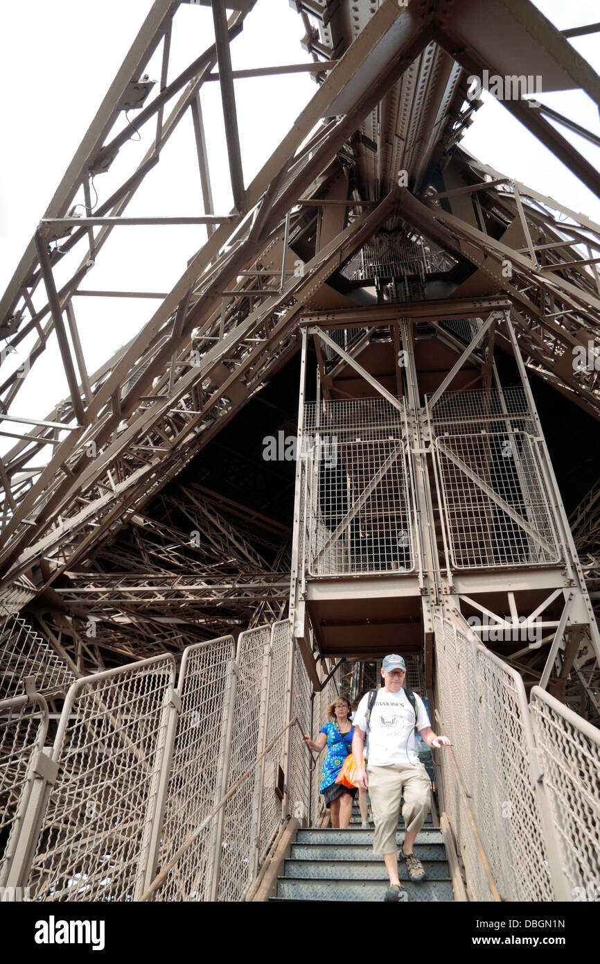 The visitor stairs and general view of the steelwork of the Eiffel Tower, Paris, France. - Stock Image