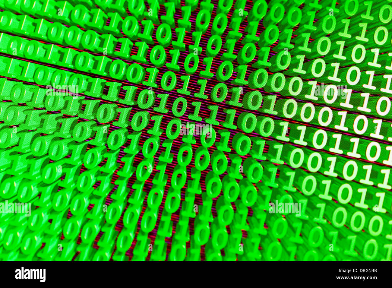 binary code representing online usage, data streams computer language in green - Stock Image