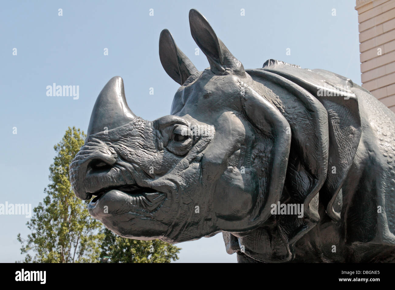 The Rhinoceros iron sculpture by Henri Alfred Jacquemart outside the Musee d'Orsay, Paris, France. - Stock Image