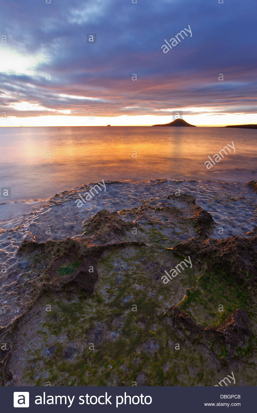Amazing landscape. Rising sun at La Manga, Murcia, Spain - Stock Image