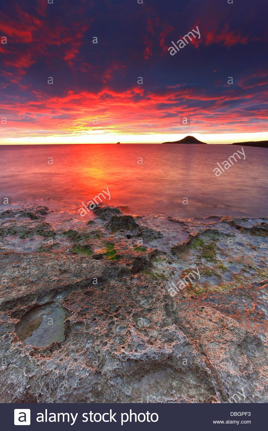 Amazing landscape. Rising sun at La Manga, Murcia, Spain - Stock Image