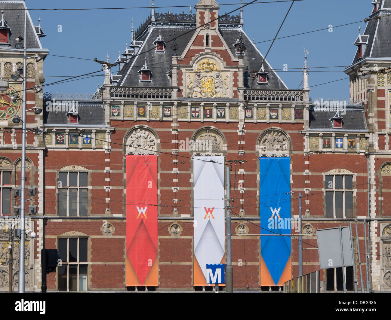 The Amsterdam Centraal railway station opened in 1889 and is built in Dutch renaissance style like the world famous - Stock Image