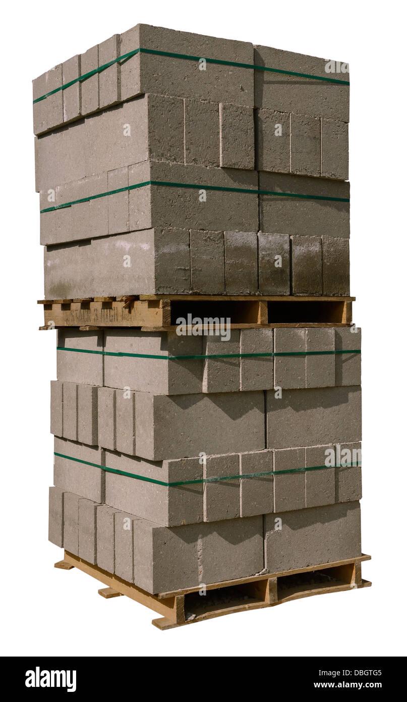 Pallet of concrete building blocks - Stock Image