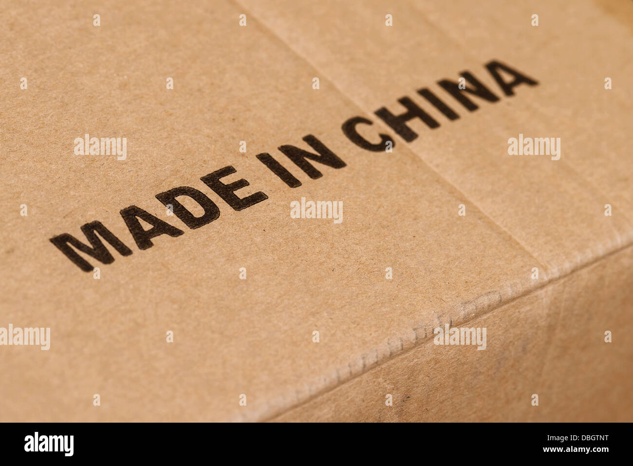 Made in China printed on a cardboard box - Stock Image
