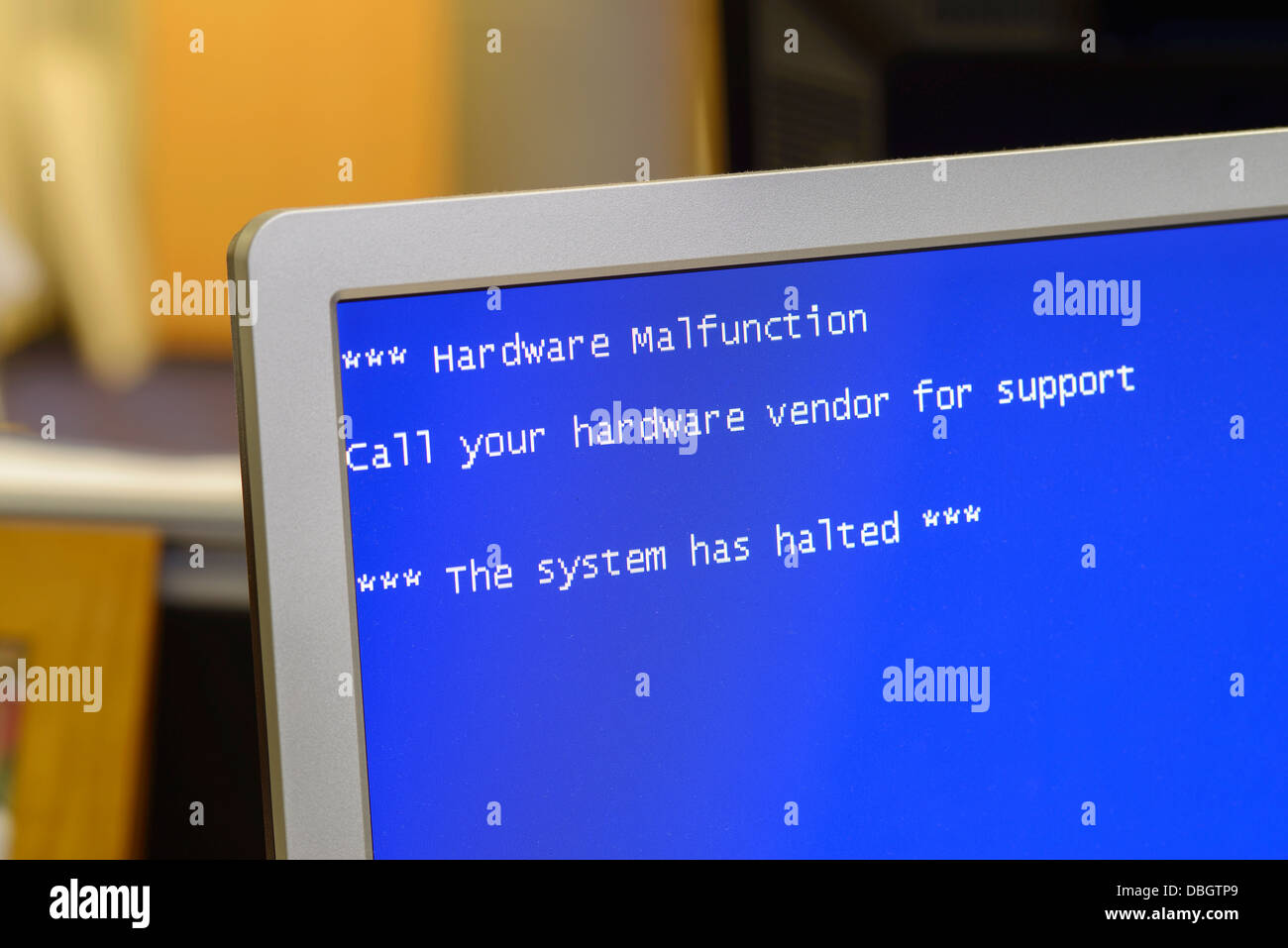 Hardware Malfunction computer error message - Stock Image