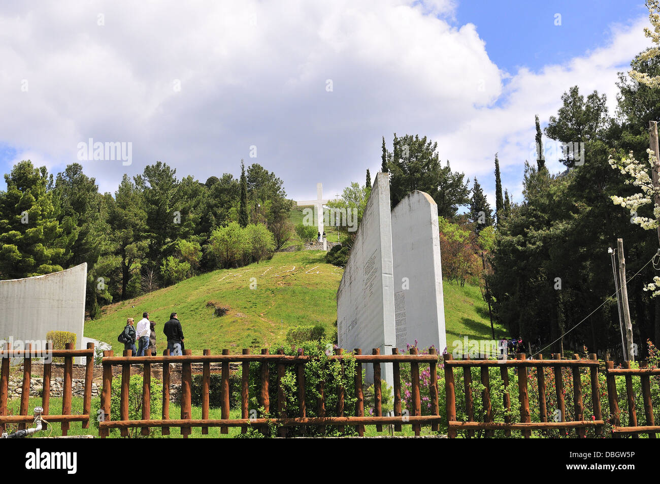 The memorial site of Massacre of Kalavryta on a hill overlooking the town. Kalavryta , Peloponnese Greece - Stock Image