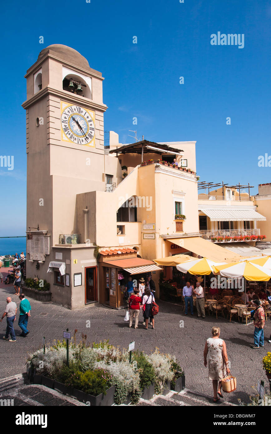 The clock tower in via roma on the island of Capri, Italy. - Stock Image