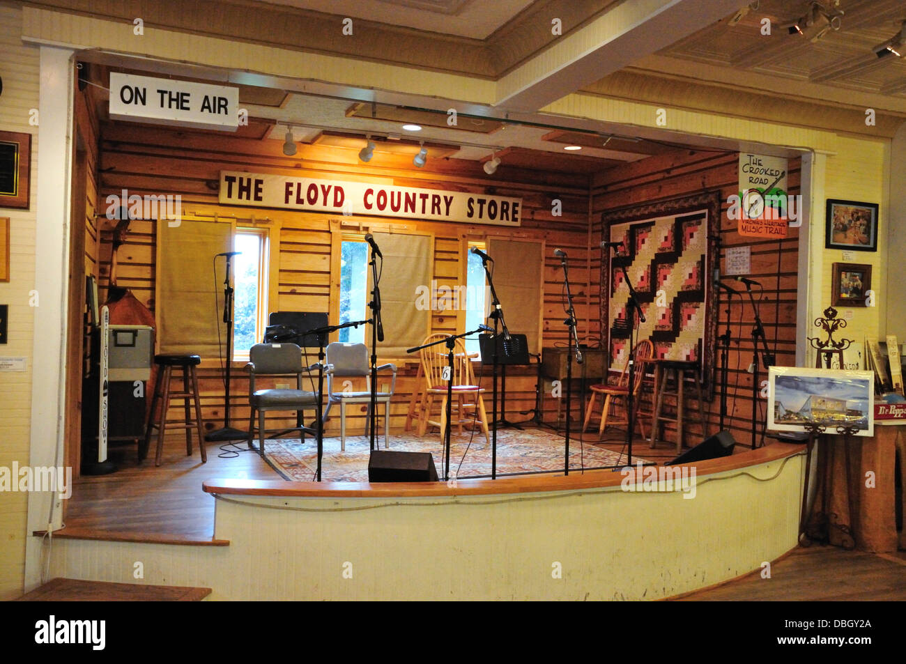Set for radio broadcasts at the Floyd Country Store, Floyd, Virginia - Stock Image